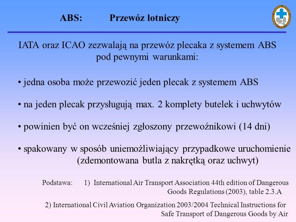 ABS: Przewóz lotniczy IATA oraz ICAO zezwalają na przewóz plecaka z systemem ABS pod pewnymi warunkami: powinien być on wcześniej zgłoszony przewoźnikowi (14 dni) spakowany w sposób uniemożliwiający przypadkowe uruchomienie (zdemontowana butla z nakrętką oraz uchwyt) jedna osoba może przewozić jeden plecak z systemem ABS Podstawa: 1) International Air Transport Association 44th edition of Dangerous Goods Regulations (2003), table 2.3.A 2) International Civil Aviation Organization 2003/2004 Technical Instructions for Safe Transport of Dangerous Goods by Air na jeden plecak przysługują max.