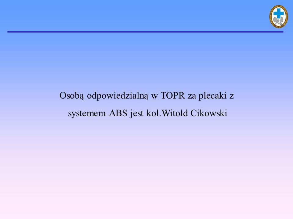 Osobą odpowiedzialną w TOPR za plecaki z systemem ABS jest kol.Witold Cikowski