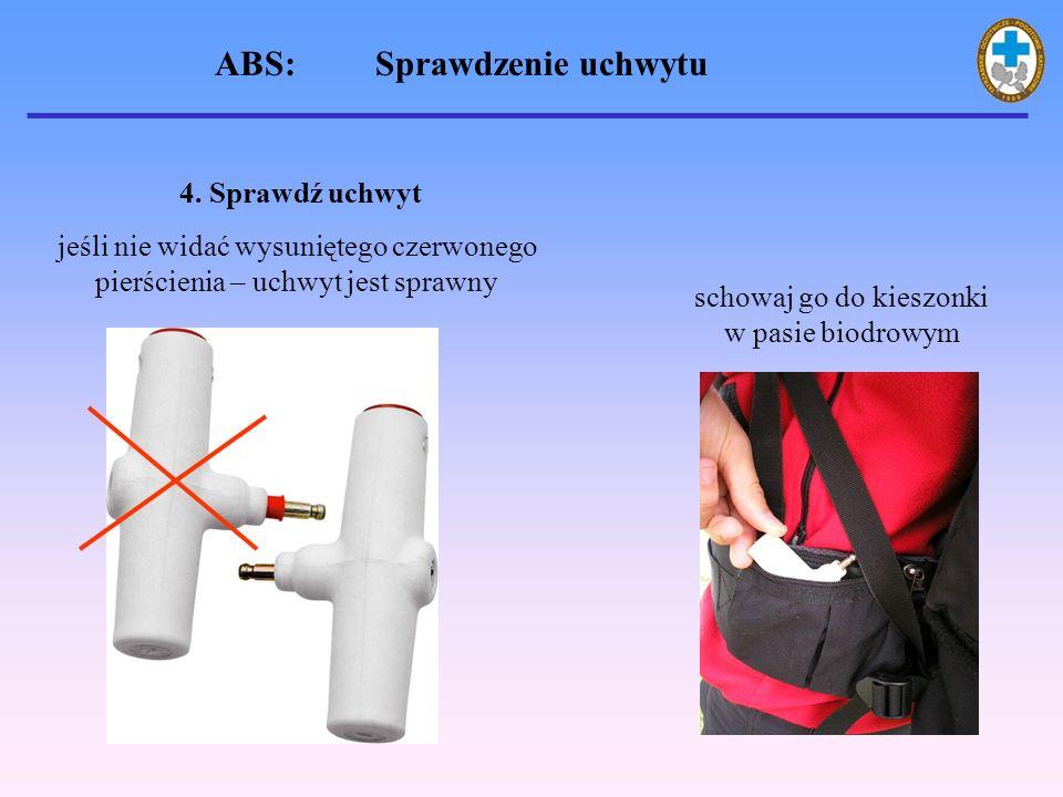4. Sprawdź uchwyt jeśli nie widać wysuniętego czerwonego pierścienia – uchwyt jest sprawny schowaj go do kieszonki w pasie biodrowym ABS: Sprawdzenie