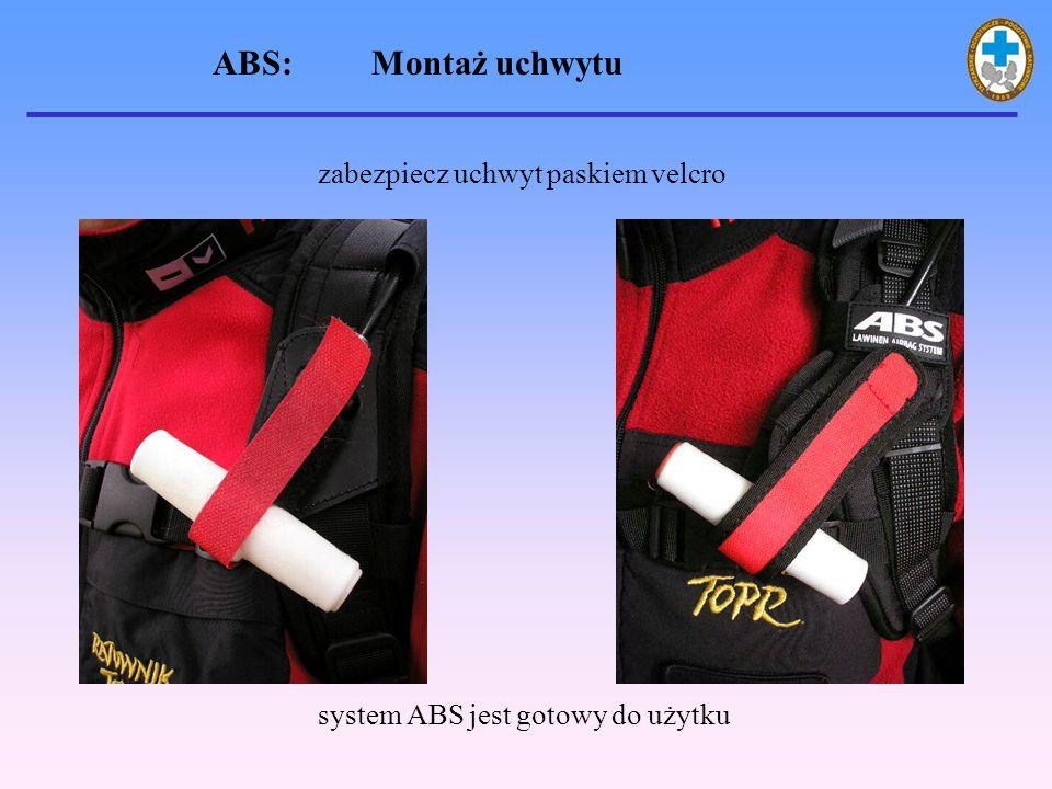 zabezpiecz uchwyt paskiem velcro system ABS jest gotowy do użytku ABS: Montaż uchwytu