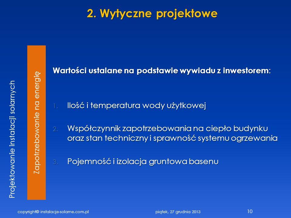 Zapotrzebowanie na energię Wartości ustalane na podstawie wywiadu z inwestorem : 1. Ilość i temperatura wody użytkowej 2. Współczynnik zapotrzebowania