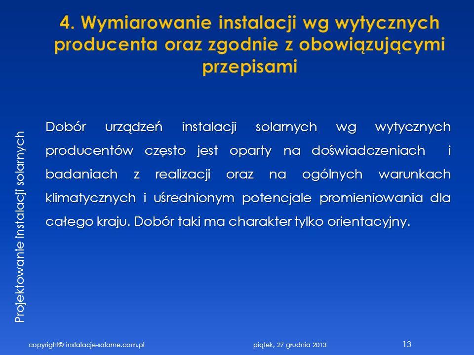 copyright© instalacje-solarne.com.pl 13 Projektowanie instalacji solarnych Dobór urządzeń instalacji solarnych wg wytycznych producentów często jest o