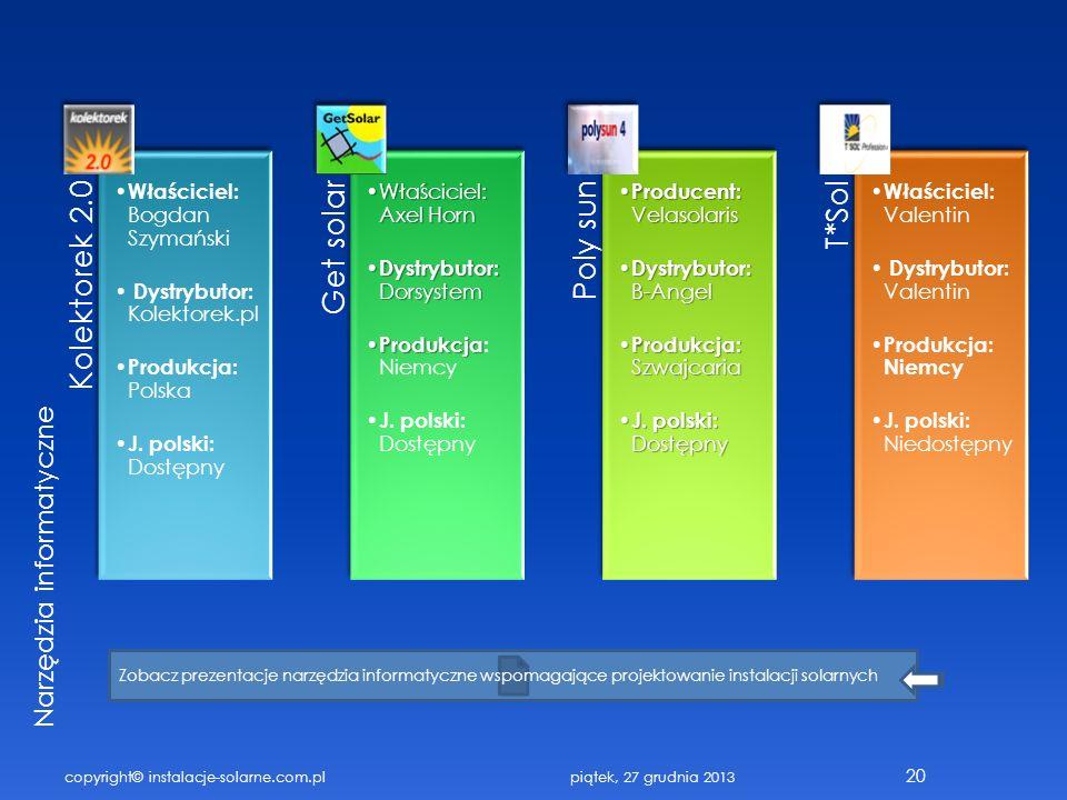 copyright© instalacje-solarne.com.pl 20 Kolektorek 2.0 Właściciel: Bogdan Szymański Dystrybutor: Kolektorek.pl Produkcja: Polska J. polski: Dostępny G
