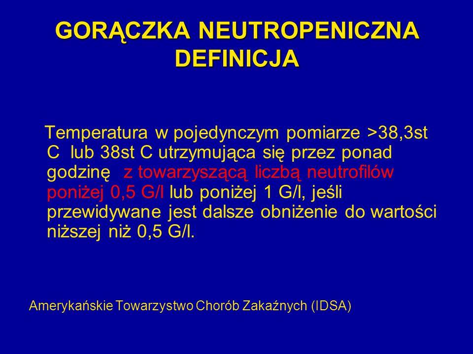 GORĄCZKA NEUTROPENICZNA DEFINICJA Temperatura w pojedynczym pomiarze >38,3st C lub 38st C utrzymująca się przez ponad godzinęz towarzyszącą liczbą neu