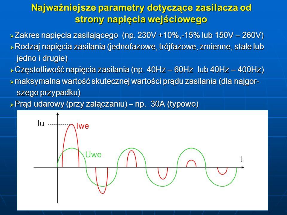 Najważniejsze parametry dotyczące zasilacza od strony napięcia wejściowego Zakres napięcia zasilającego (np. 230V +10%,-15% lub 150V – 260V) Zakres na