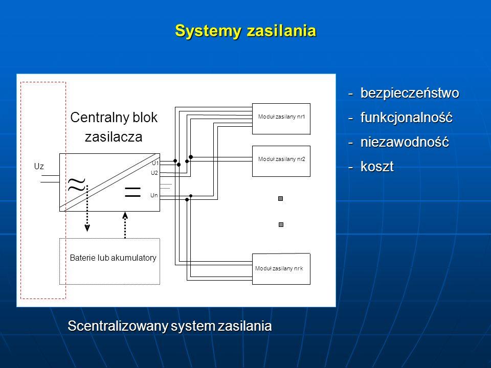 Systemy zasilania ~ ~ U1 U2 Un Moduł zasilany nr1 Moduł zasilany nr2 Moduł zasilany nr k Uz Baterie lub akumulatory Centralny blok zasilacza Scentrali
