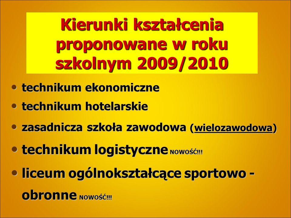 Kierunki kształcenia proponowane w roku szkolnym 2009/2010 technikum ekonomiczne technikum ekonomiczne technikum hotelarskie technikum hotelarskie zasadnicza szkoła zawodowa (wielozawodowa) zasadnicza szkoła zawodowa (wielozawodowa) technikum logistyczne NOWOŚĆ!!.