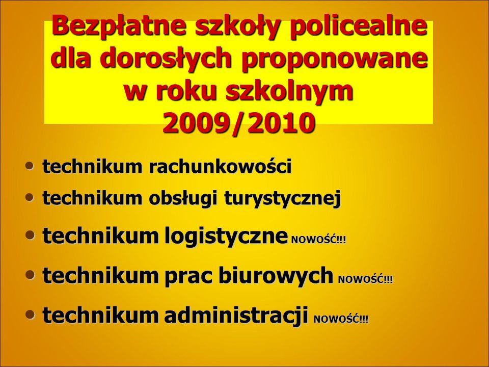 Bezpłatne szkoły policealne dla dorosłych proponowane w roku szkolnym 2009/2010 technikum rachunkowości technikum rachunkowości technikum obsługi turystycznej technikum obsługi turystycznej technikum logistyczne NOWOŚĆ!!.
