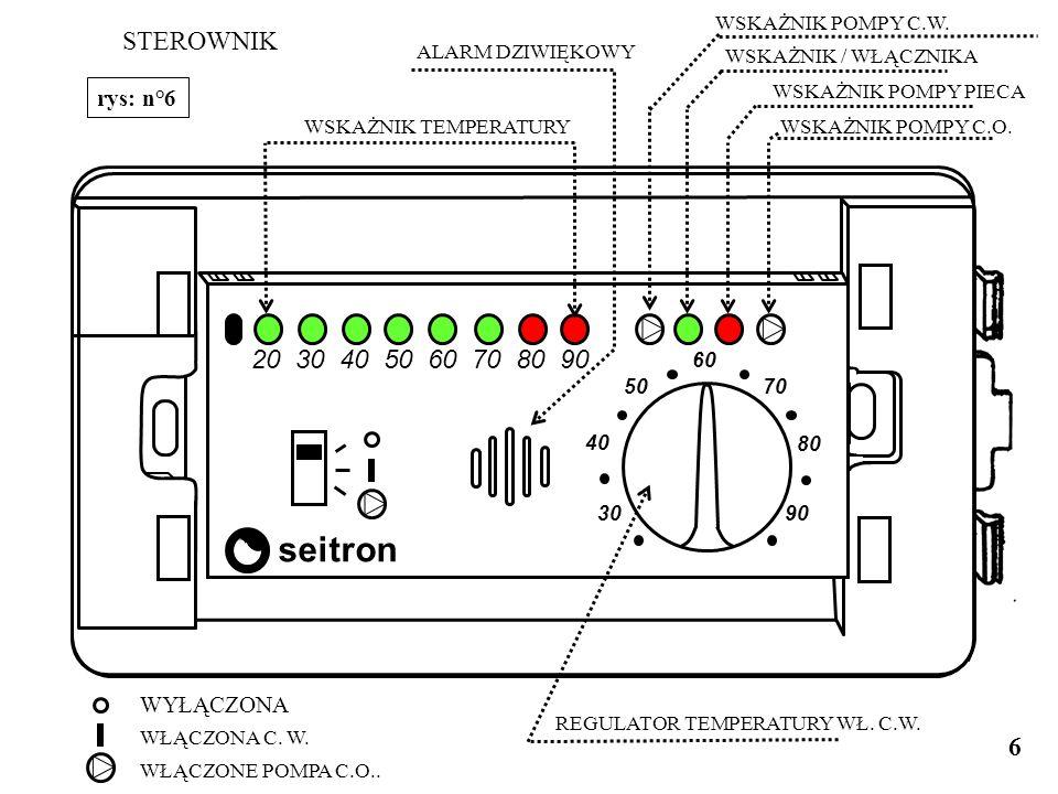 1 2 3 4 5 6 7 8 L N S 230V 50Hz Pompa n° 2 C.W. Pompa n° 1 C.O. SCHEMAT ELEKTRYCZNY SONDA TEMP. FONDERIE DU DER : Rys. n°5 ZASILANIE 5