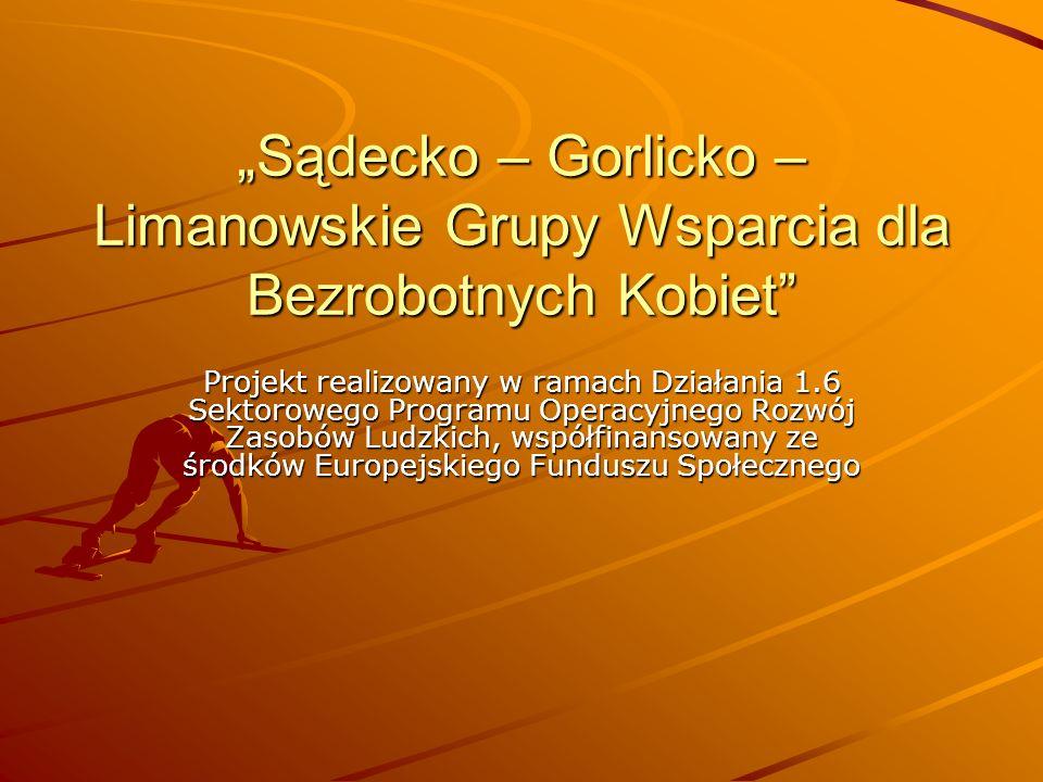 Sądecko – Gorlicko – Limanowskie Grupy Wsparcia dla Bezrobotnych Kobiet Projekt realizowany w ramach Działania 1.6 Sektorowego Programu Operacyjnego R