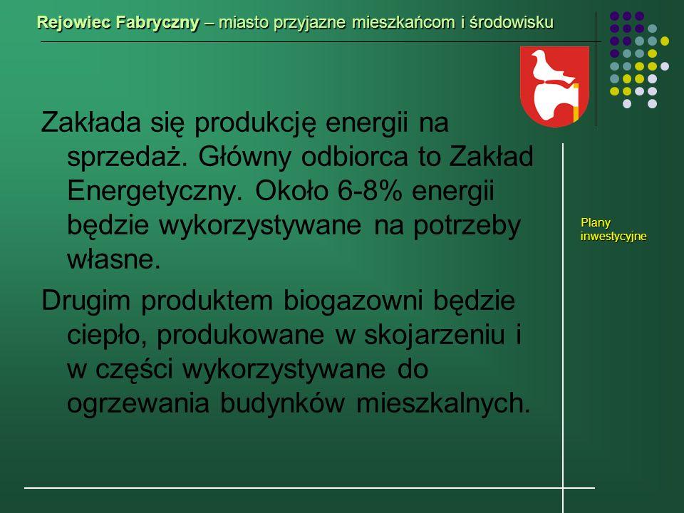 Zakłada się produkcję energii na sprzedaż. Główny odbiorca to Zakład Energetyczny. Około 6-8% energii będzie wykorzystywane na potrzeby własne. Drugim