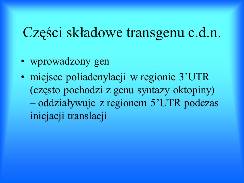 Transgene expression and control B. Miki Eastern Cereal and Oil Research Center