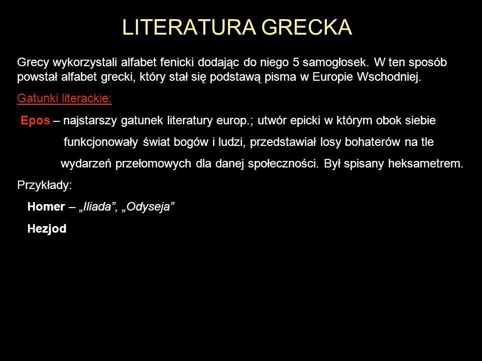 LITERATURA GRECKA Grecy wykorzystali alfabet fenicki dodając do niego 5 samogłosek. W ten sposób powstał alfabet grecki, który stał się podstawą pisma