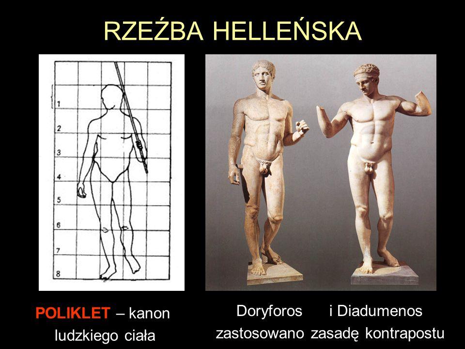 RZEŹBA HELLEŃSKA POLIKLET – kanon ludzkiego ciała Doryforosi Diadumenos zastosowano zasadę kontrapostu