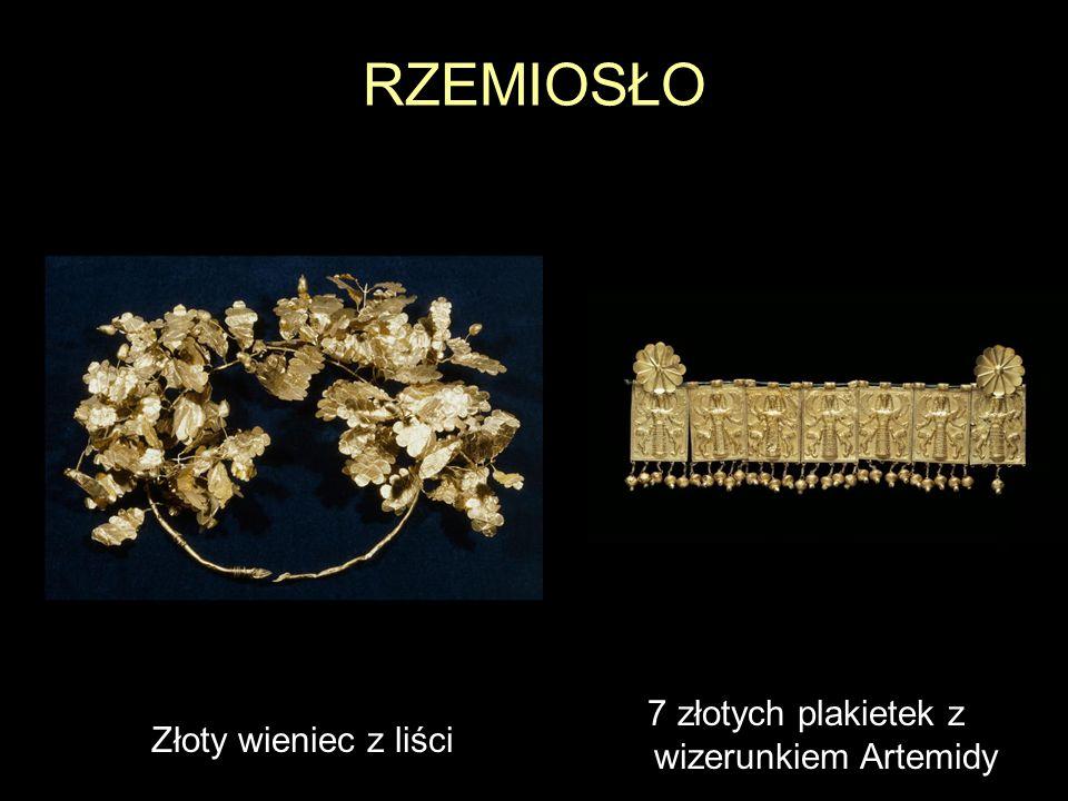 RZEMIOSŁO Złoty wieniec z liści 7 złotych plakietek z wizerunkiem Artemidy