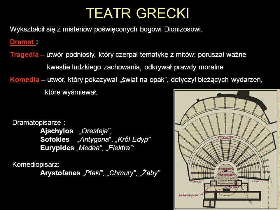 TEATR GRECKI Wykształcił się z misteriów poświęconych bogowi Dionizosowi. Dramat : Tragedia – utwór podniosły, który czerpał tematykę z mitów; porusza