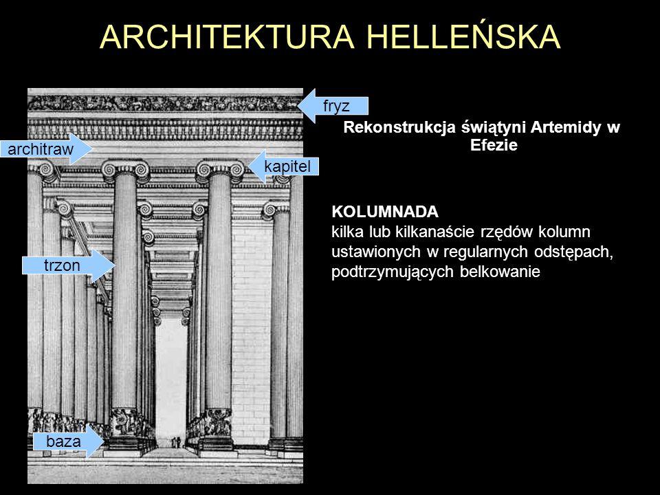ARCHITEKTURA HELLEŃSKA Rekonstrukcja świątyni Artemidy w Efezie KOLUMNADA kilka lub kilkanaście rzędów kolumn ustawionych w regularnych odstępach, pod