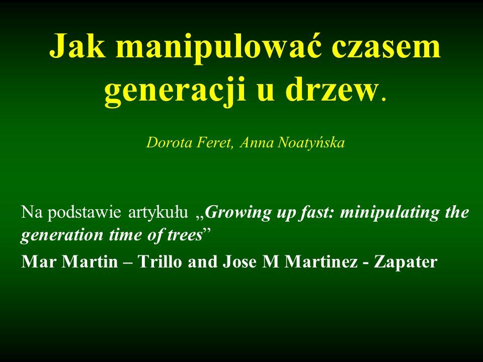 Definicje: Czas generacji u roślin - jest to czas od wykiełkowania nasiona do wydania potomstwa; Faza juwenilna – okres dojrzewania, roślina rozwija się ale nie jest jeszcze zdolna do rozmnażania; Reproduktywna kompetencja- zdolność rośliny do wytworzenia organów generatywnych (kwitnienia, wytwarzania owoców, nasion).