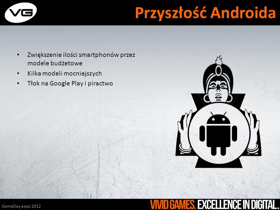 Zwiększenie ilości smartphonów przez modele budżetowe Kilka modeli mocniejszych Tłok na Google Play i piractwo GameDay expo 2012 Przyszłość Androida