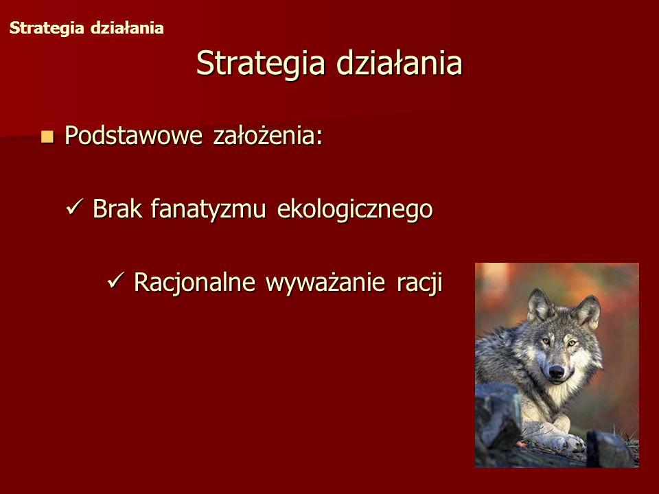 Strategia działania Podstawowe założenia: Podstawowe założenia: Brak fanatyzmu ekologicznego Brak fanatyzmu ekologicznego Racjonalne wyważanie racji R