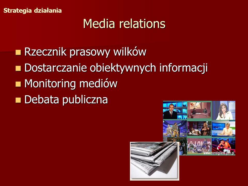 Media relations Rzecznik prasowy wilków Rzecznik prasowy wilków Dostarczanie obiektywnych informacji Dostarczanie obiektywnych informacji Monitoring m