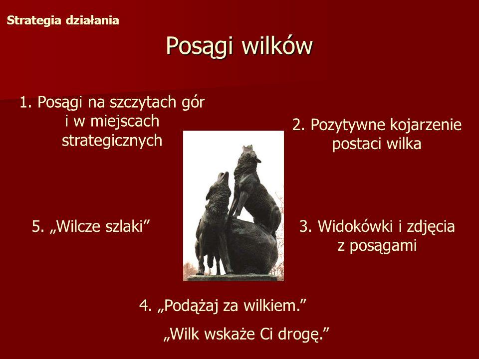 Posągi wilków Strategia działania 1. Posągi na szczytach gór i w miejscach strategicznych 2. Pozytywne kojarzenie postaci wilka 4. Podążaj za wilkiem.