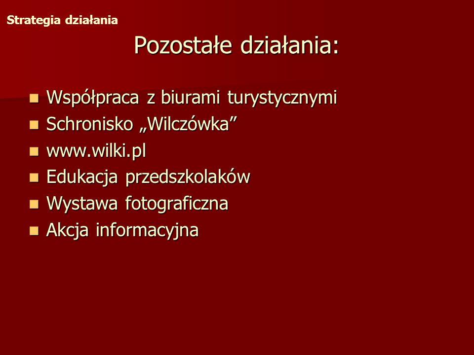 Pozostałe działania: Współpraca z biurami turystycznymi Schronisko Wilczówka www.wilki.pl Edukacja przedszkolaków Wystawa fotograficzna Akcja informac