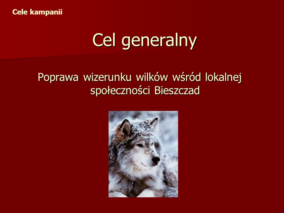 Cel generalny Poprawa wizerunku wilków wśród lokalnej społeczności Bieszczad Cele kampanii