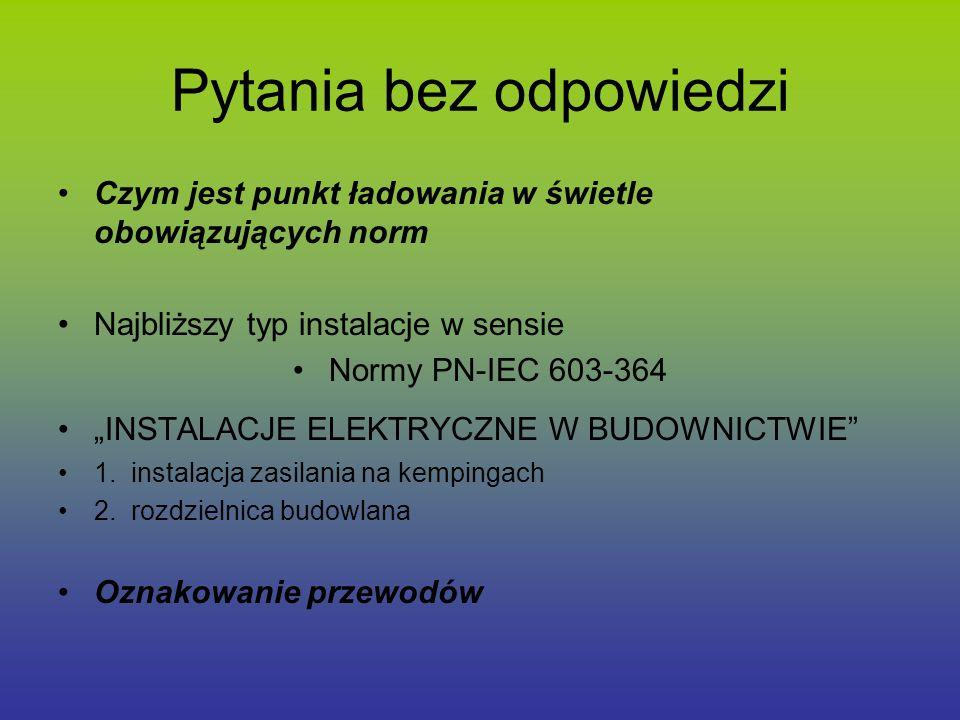 Pytania bez odpowiedzi Czym jest punkt ładowania w świetle obowiązujących norm Najbliższy typ instalacje w sensie Normy PN-IEC 603-364 INSTALACJE ELEK