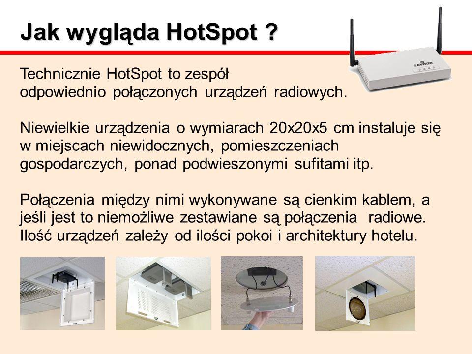 Jak wygląda HotSpot ? Technicznie HotSpot to zespół odpowiednio połączonych urządzeń radiowych. Niewielkie urządzenia o wymiarach 20x20x5 cm instaluje