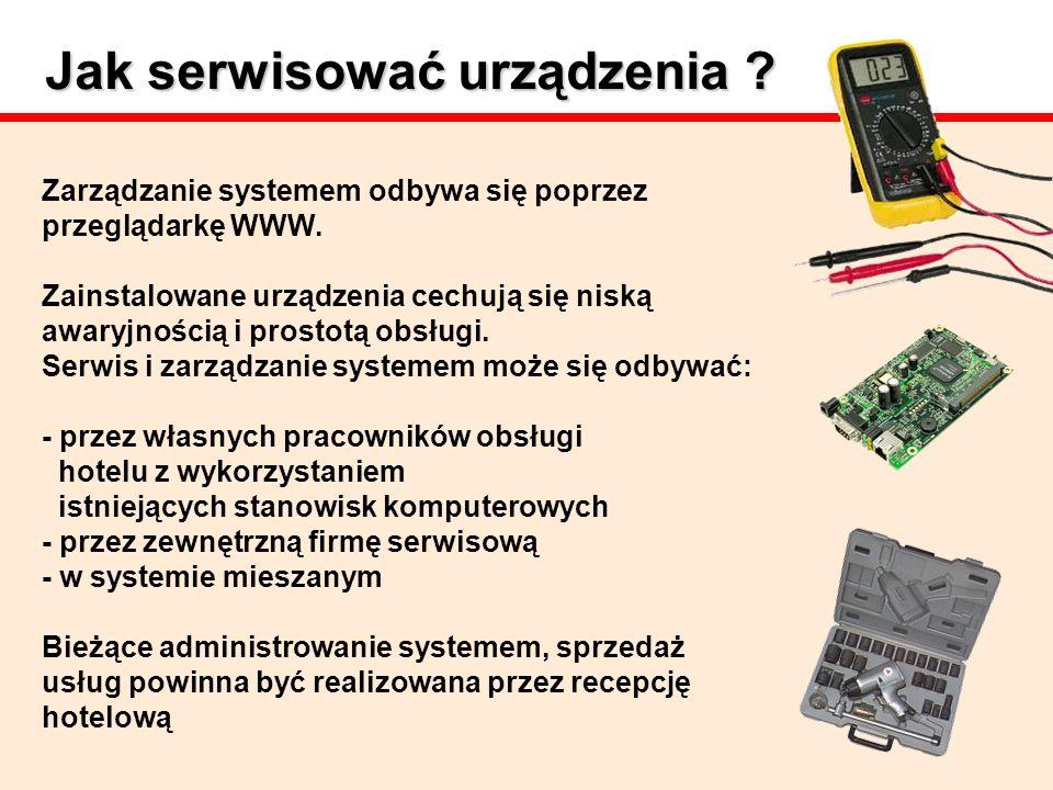 Jak serwisować urządzenia ? Zarządzanie systemem odbywa się poprzez przeglądarkę WWW. Zainstalowane urządzenia cechują się niską awaryjnością i prosto