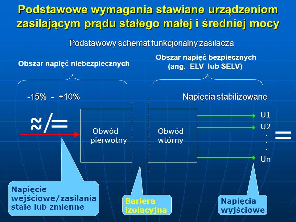Podstawowe wymagania stawiane urządzeniom zasilającym prądu stałego małej i średniej mocy Obwód pierwotny Obwód wtórny Bariera izolacyjna Napięcie wejściowe/zasilania stałe lub zmienne U1 U2 Un...