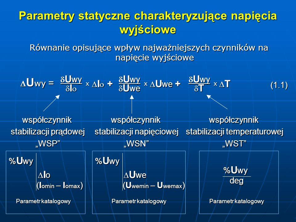 Parametry statyczne charakteryzujące napięcia wyjściowe U wy = U wy = U wy U wy T T x I I I + I + x U wy U wy U we U we U we + U we + x Równanie opisujące wpływ najważniejszych czynników na napięcie wyjściowe (1.1) współczynnik stabilizacji prądowej WSP % U wy I o I o (I omin – I omax ) Parametr katalogowy współczynnik stabilizacji napięciowej WSNwspółczynnik stabilizacji temperaturowej WST % U wy U we U we (U wemin – U wemax ) Parametr katalogowy % U wy Parametr katalogowy deg