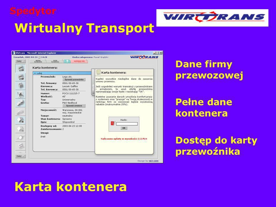 Wirtualny Transport Karta kontenera Dane firmy przewozowej Pełne dane kontenera Dostęp do karty przewoźnika Spedytor