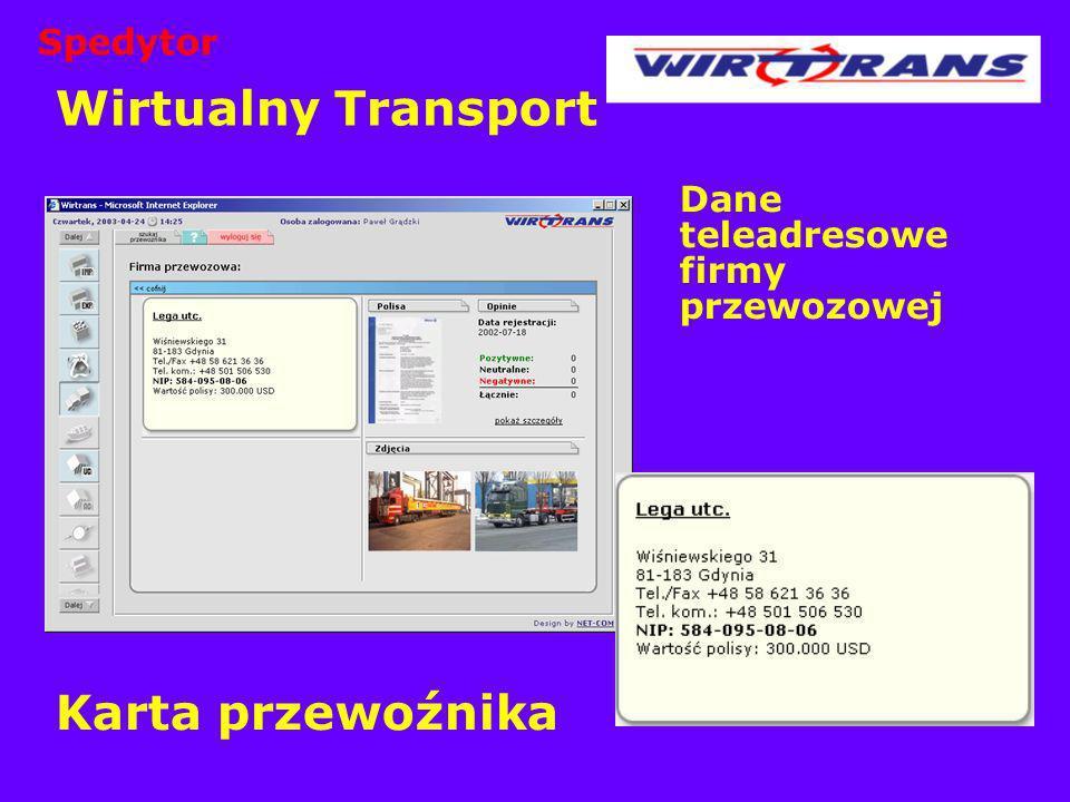 Wirtualny Transport Dane teleadresowe firmy przewozowej Karta przewoźnika Spedytor