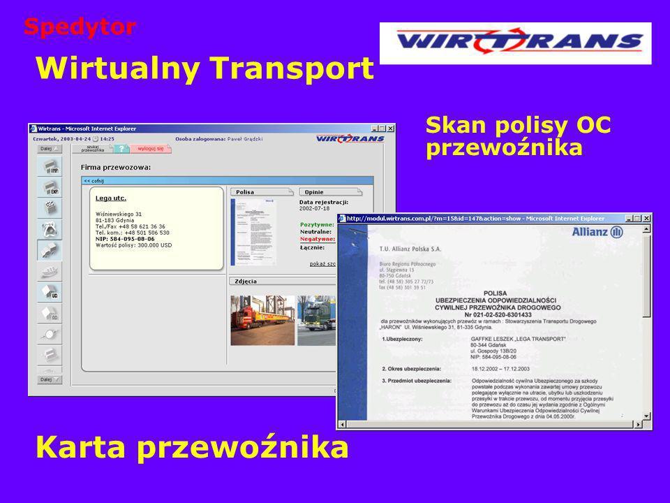 Wirtualny Transport Skan polisy OC przewoźnika Karta przewoźnika Spedytor