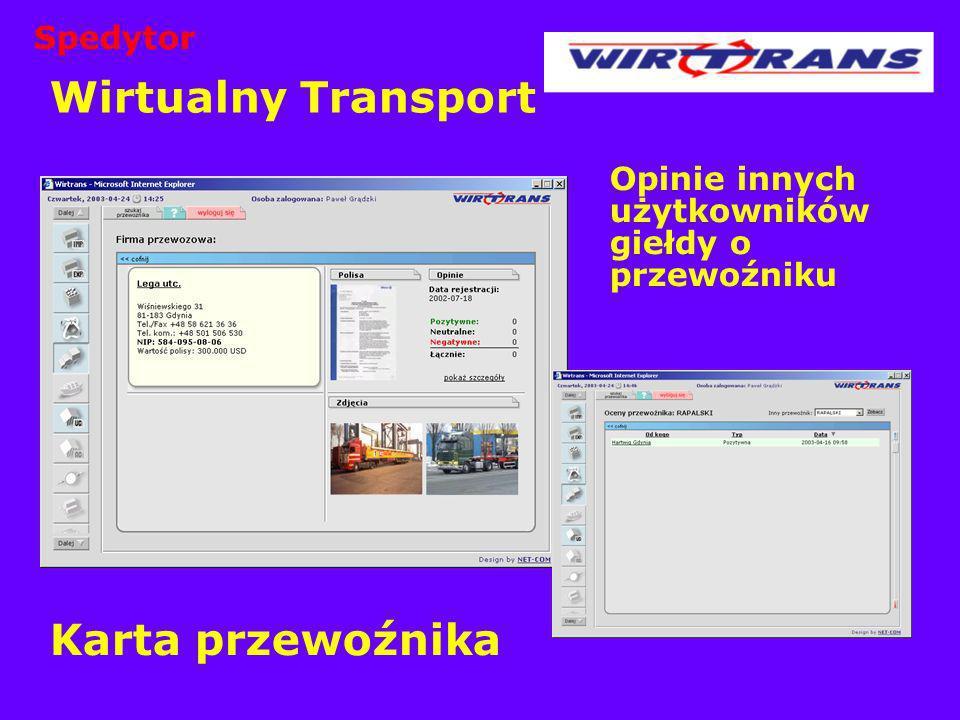 Wirtualny Transport Opinie innych użytkowników giełdy o przewoźniku Karta przewoźnika Spedytor