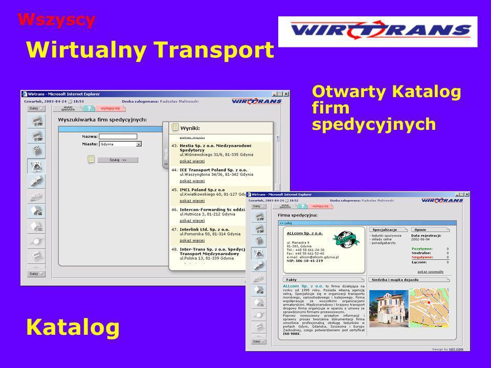 Wirtualny Transport Otwarty Katalog firm spedycyjnych Katalog Wszyscy