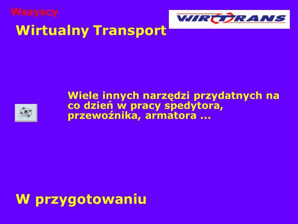 Wirtualny Transport Wiele innych narzędzi przydatnych na co dzień w pracy spedytora, przewoźnika, armatora... W przygotowaniu Wszyscy