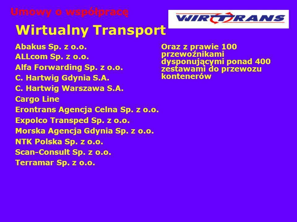 Wirtualny Transport Abakus Sp. z o.o. ALLcom Sp. z o.o. Alfa Forwarding Sp. z o.o. C. Hartwig Gdynia S.A. C. Hartwig Warszawa S.A. Cargo Line Erontran
