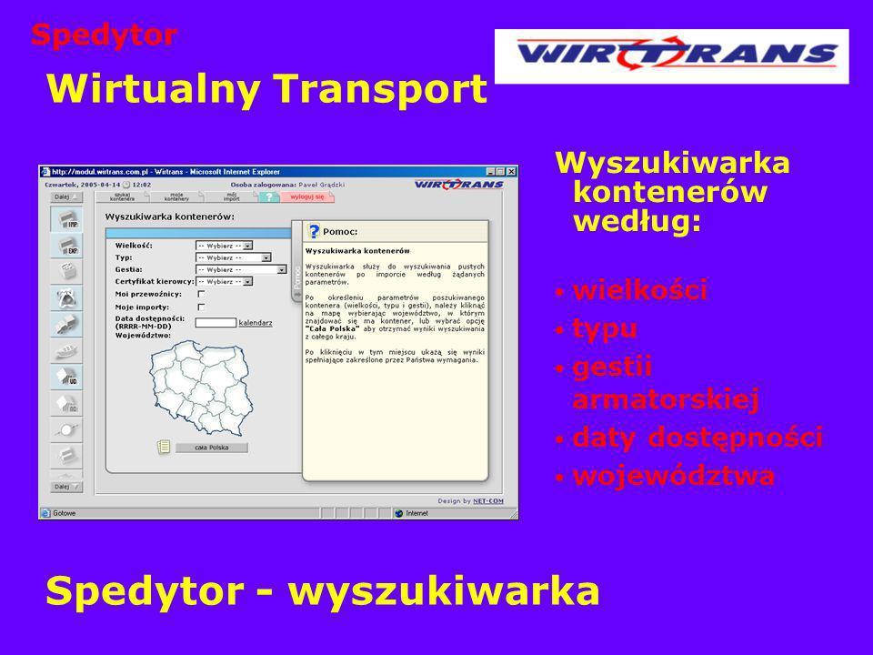 Wirtualny Transport Spedytor - wyszukiwarka Wyszukiwarka kontenerów według: wielkości typu gestii armatorskiej daty dostępności województwa Spedytor