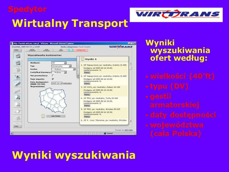 Wirtualny Transport Wyniki wyszukiwania Wyniki wyszukiwania ofert według: wielkości (40ft) typu (DV) gestii armatorskiej daty dostępności województwa