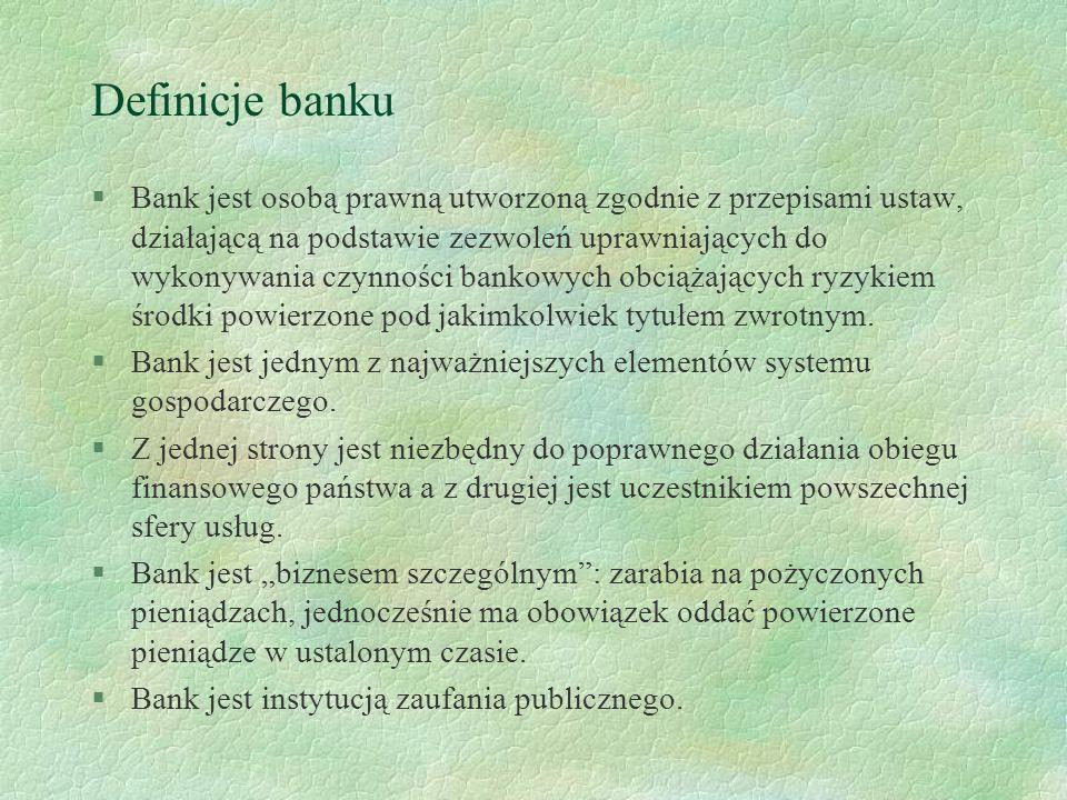 Rola banków §Banki są przedsiębiorstwami, które przejmują szereg czynności finansowych z jednostek gospodarczych i gospodarstw domowych.