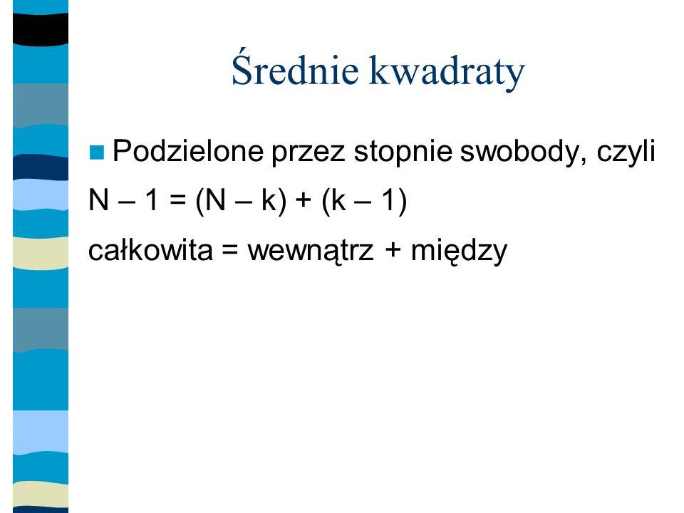 Średnie kwadraty Podzielone przez stopnie swobody, czyli N – 1 = (N – k) + (k – 1) całkowita = wewnątrz + między