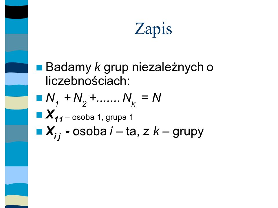 Zapis Badamy k grup niezależnych o liczebnościach: N 1 + N 2 +.......