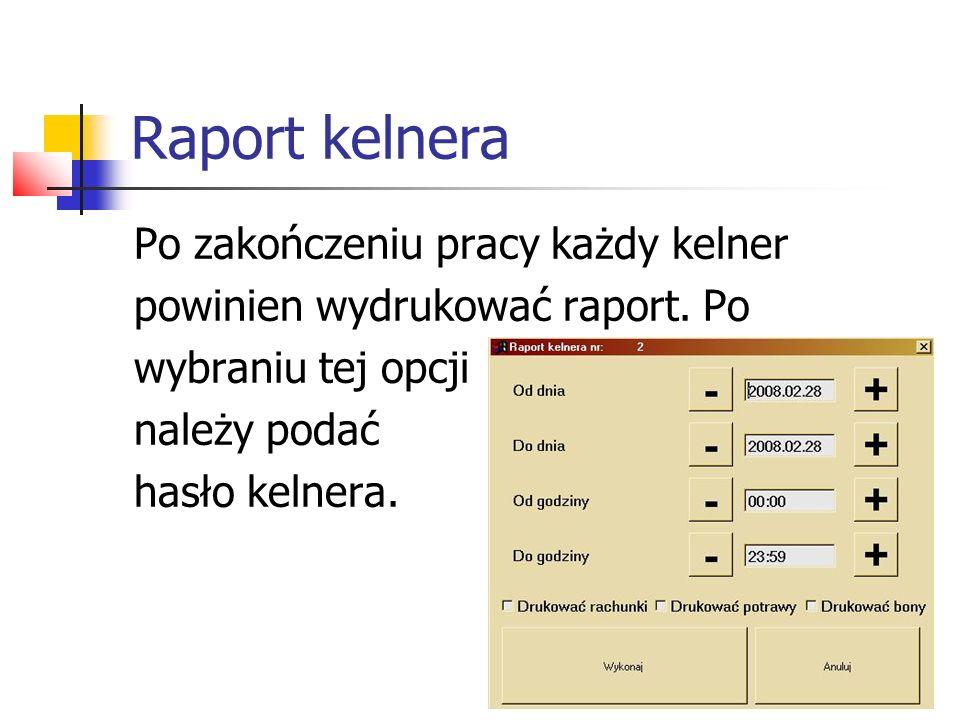 Przykładowy raport kelnera Wydruk dnia:2006.09.01 godz.12:59:17 opis nagłówka RAPORT SPRZEDAŻY KELNERA-01 KELENR NR.1 Od dnia:2006.09.01 Do dnia:2006.10.31--------- ========================================informacje opcjonalne zależne od 32/RU 2006.09.01 12:57 idem: 786 BARCZE - 4.00 1.70 6.80 ustawienia w ramce parametrów BANWCI - 4.00 5.30 21.20 raportu kelnera BOSTWK - 9.00 11.20 100.80 BRYZPO - 3.00 10.20 30.60 MEWIWM - 2.00 9.20 18.40 SLEPWE - 2.00 2.70 5.40 BACZZF - 0.00 2.20 0.00 --------------------- RAZEM: 183.20 ======================================== 33/RU 2006.09.02 12:57 idem: 787 JANAKI - 4.00 3.20 12.80 PANAGO - 4.00 3.00 12.00 BACZZF - 0.00 2.20 0.00 --------------------- RAZEM: 24.80 ======================================== GOTÓWKA: 183.20 PRZELEW: