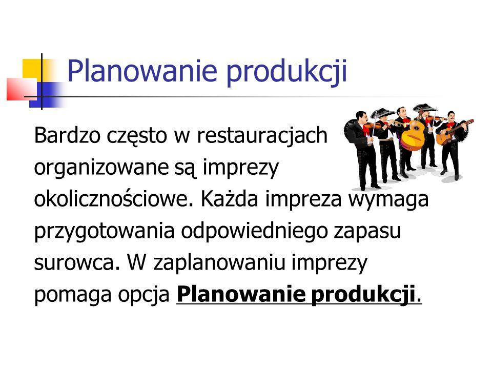 Planowanie produkcji Ekran planowania produkcji.