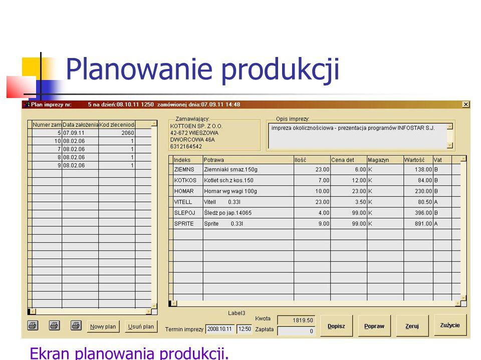 Planowanie produkcji Klikając na klawisz Dopisz z poprzedniego menu dodajemy potrawy do zamówienia.