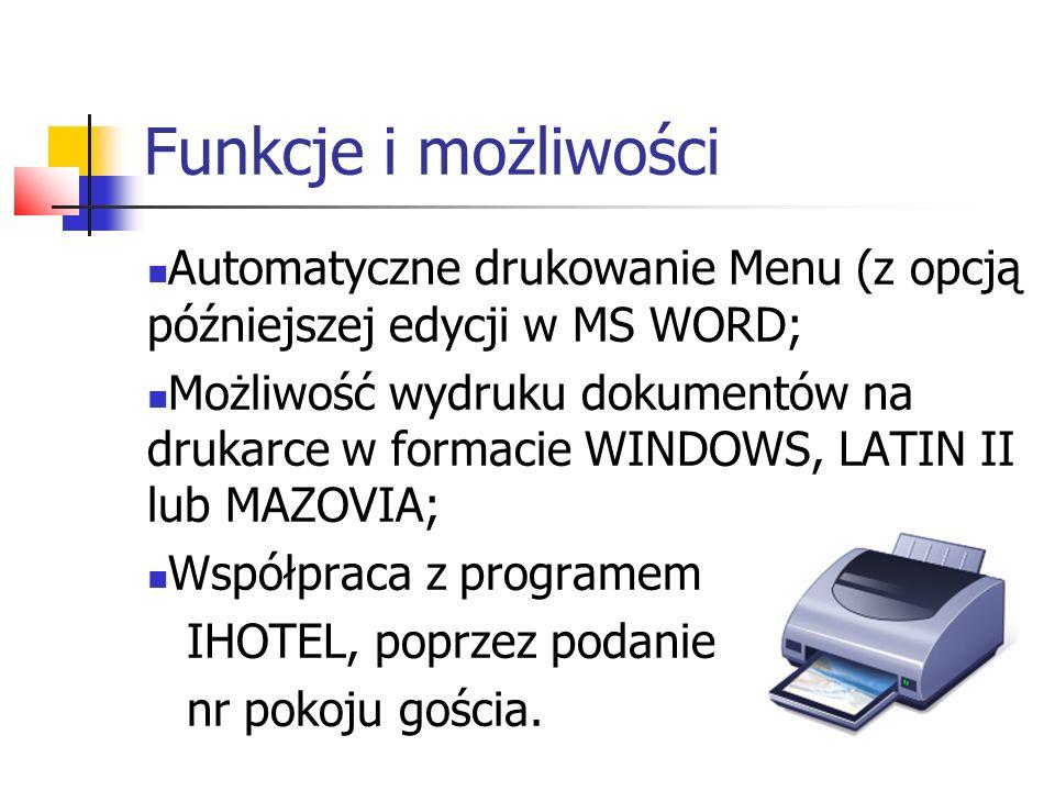 Opis systemu Program dostępny jest w dwu podstawowych konfiguracjach: W wersji sieciowej - dla dużych restauracji; W wersji jednostanowiskowej - dla małych restauracji.