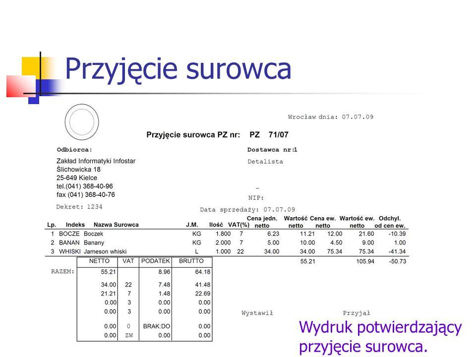 Dokumenty PZ Wybór opcji Przegląd PZ powoduje wyświetlenie na ekranie listy dokumentów PZ z opisem (nr rachunku lub faktury, data wystawienia, wartość brutto, termin zapłaty).